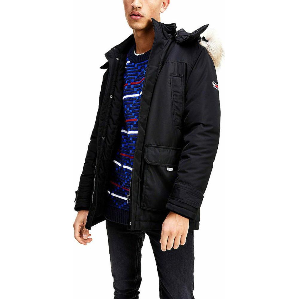 Levně Tommy Jeans pánská černá bunda parka - M (BDS)