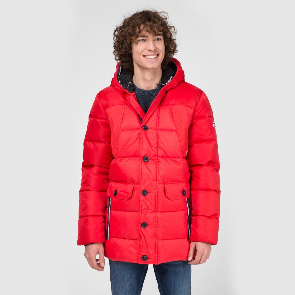Tommy Jeans pánská červená zimní bunda Fabric - L (XA9)