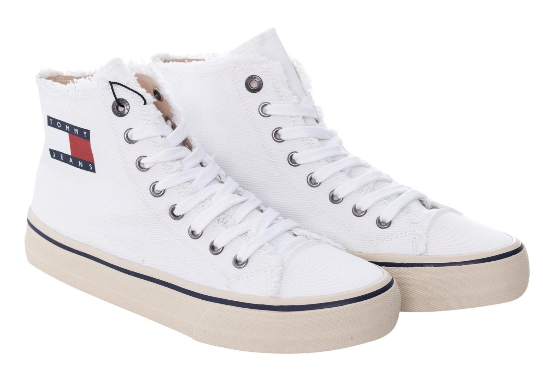 Tommy Jeans pánské bílé kotníkové plátěné tenisky