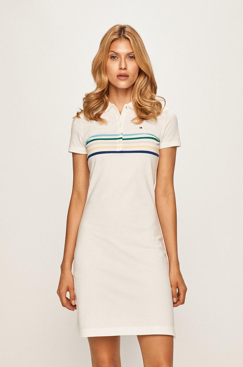 Levně Tommy Hilfiger dámské bílé polo šaty New Chiara