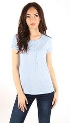 Tommy Hilfiger dámské světle modré melírované tričko s knoflíčky be7ed75639