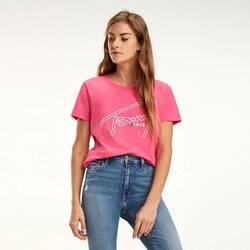 b54ffbc743e1 Tommy Hilfiger dámské růžové tričko s výšivkou